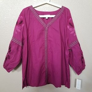Charter Club Purple Floral Embroidered Blouse XL